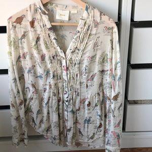 Anthropologie bird print shirt
